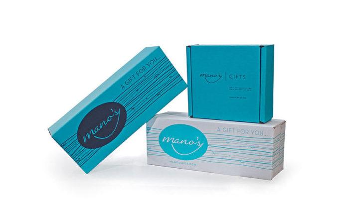 teal print e-commerce boxes