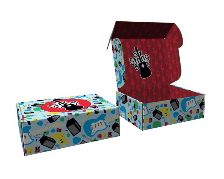 Example of student box: music-themed box with guitar logo
