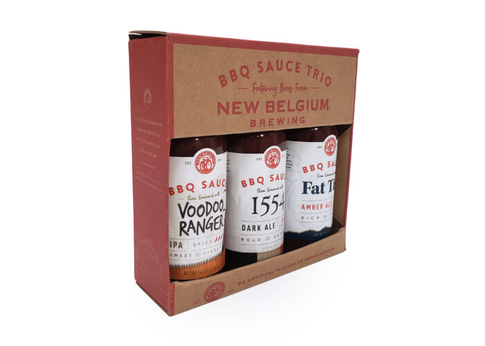 One color print on kraft packaging with cutout to display three flavors of BBQ sauce