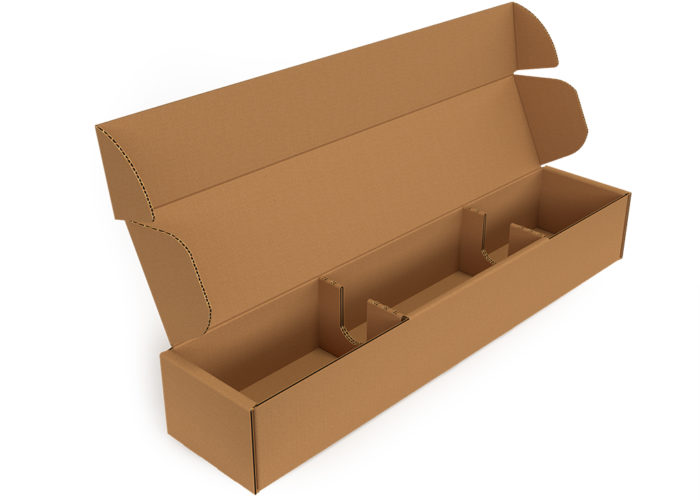 a long industrial corrugated box with a built-in insert