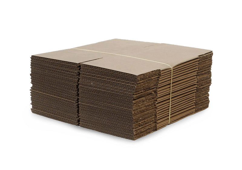 stacked stock boxes folded flat and tied with zip-tie