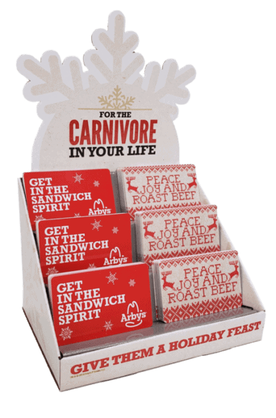 Custom small giftcard display design with snowflake-shaped header