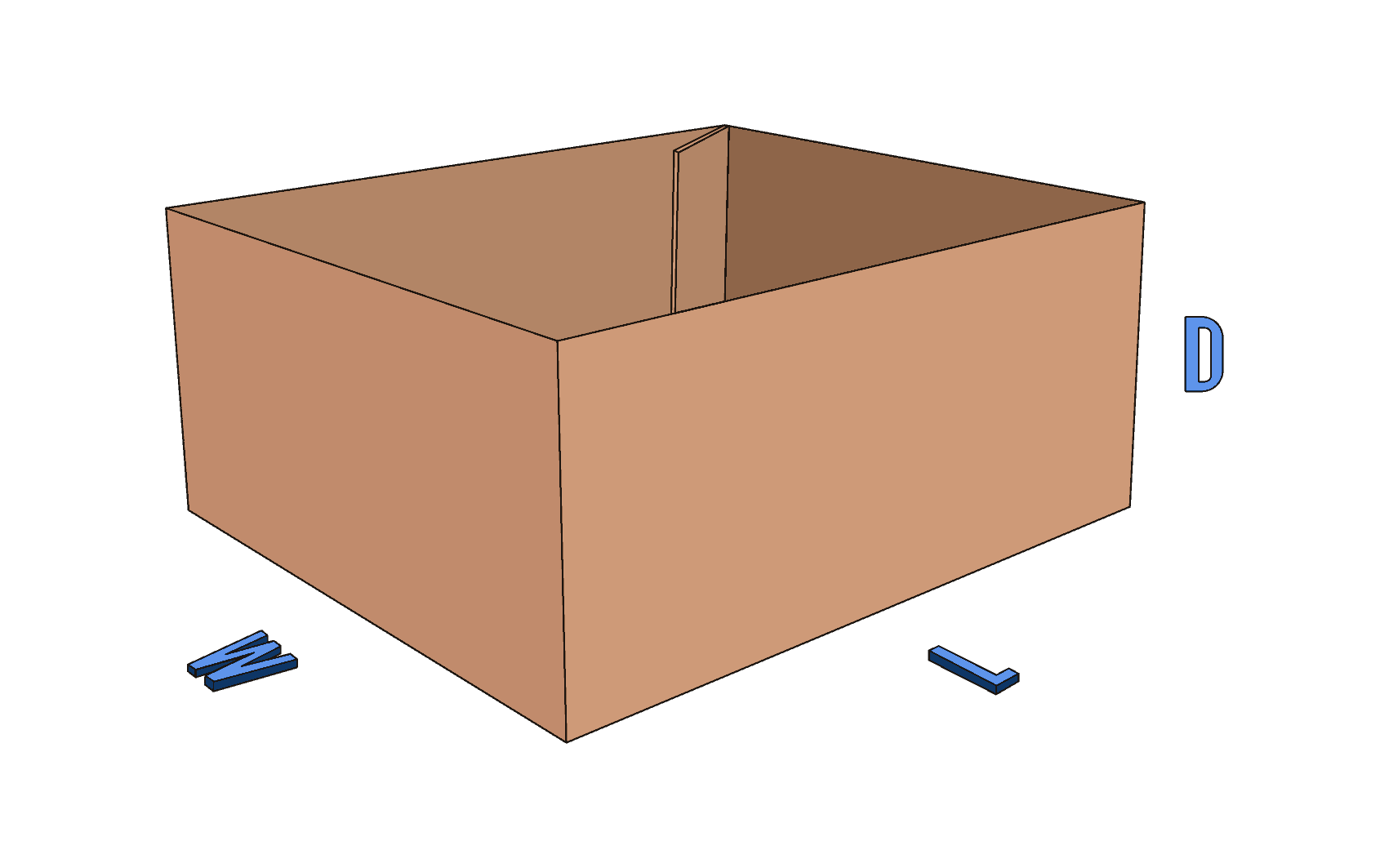 Half Slotted Container (HSC) corrugated box style