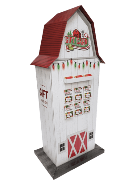 Custom tall giftcard display design shaped like a white barn with a red roof