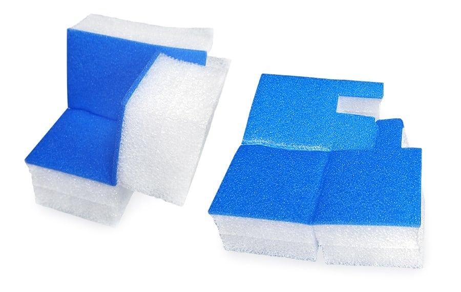 collapsible polyethylene foam corner shown flat and folded