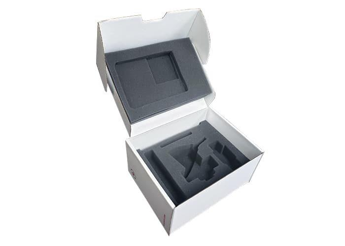 mailer box with custom cutout polyurethane insert
