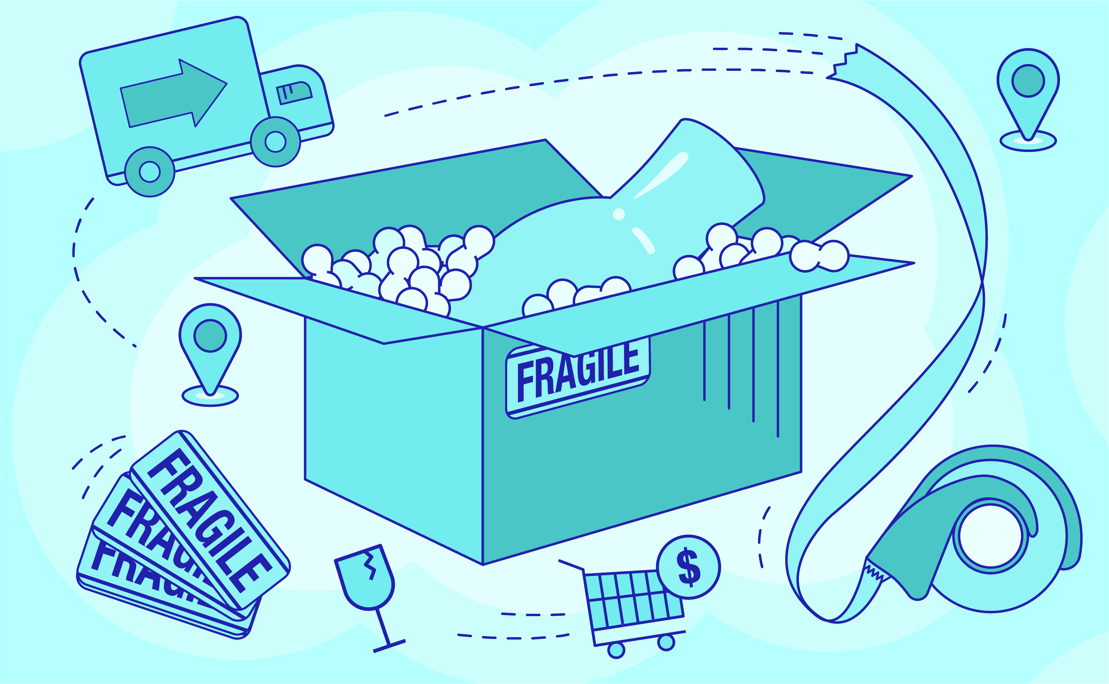 a package containing a vase with a fragile label and filled with packing peanuts