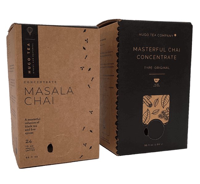 two boxes with black print on kraft and detailed line art beverage packaging