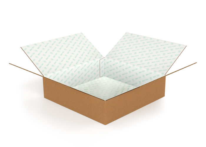 e-commerce box with teal inside print