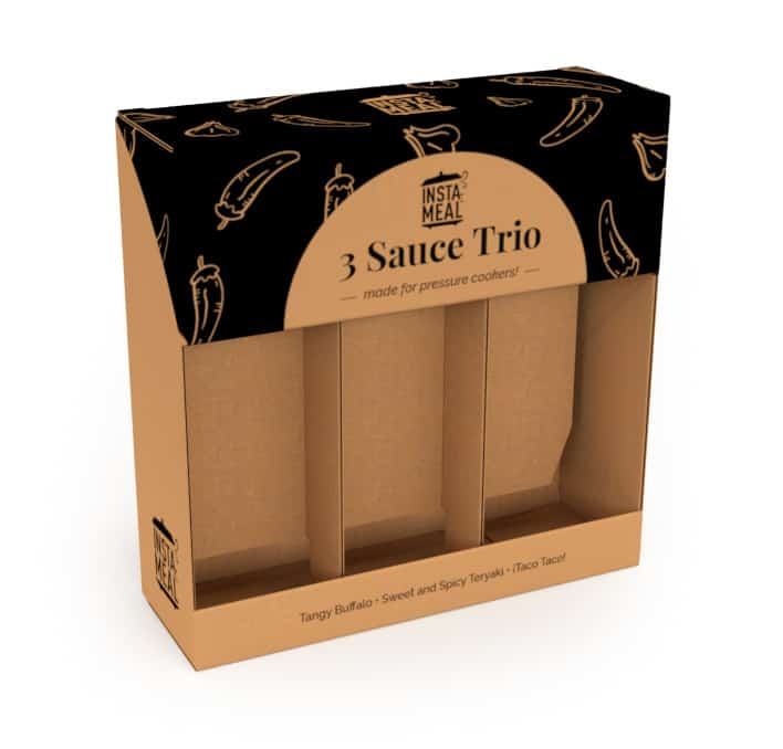 one color design on kraft food packaging for sauces