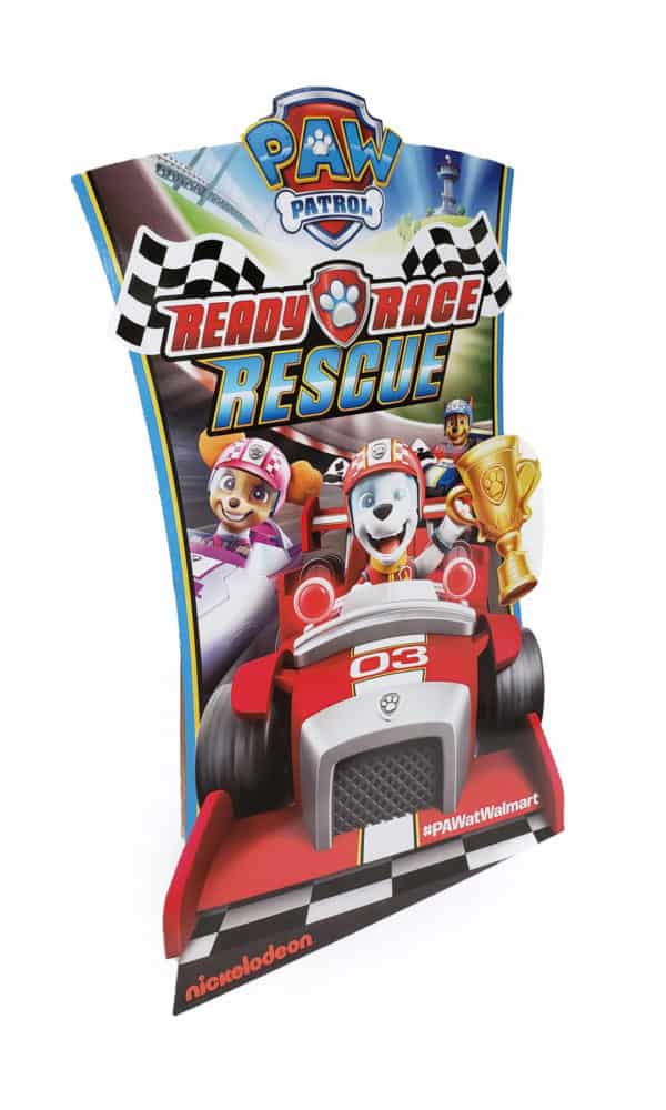 Flat display design for paw patrol depicting dogs racing in cars