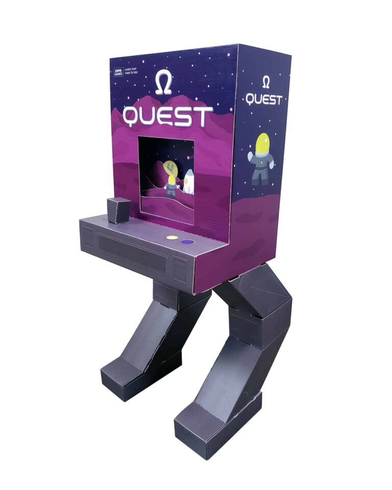 """corrugated digital arcade machine with robot legs, arcade game is called """"Omega Quest"""""""