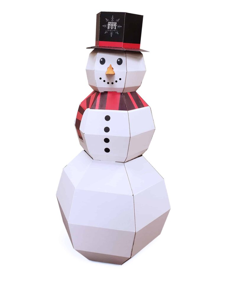 3d snowman made out of corrugated with American Box top hat